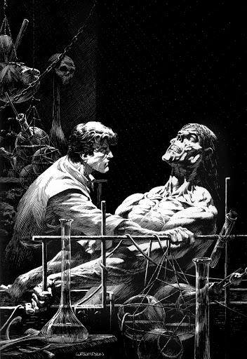 Impresionante ilustración de Bernie Wrigtson del doctor Frankenstein y su 'creación'. PLANETA CÓMIC