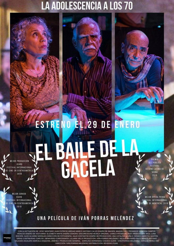 Cartel de 'El baile de la gacela'. REVERSO FILMS. Una comedia otoñal desde Costa Rica entre los estrenos del 29 de enero