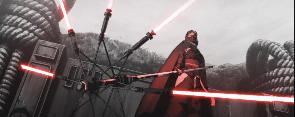 Un Sith aprovechando una sombrilla como armazón de sables laser en Visions: The duel.